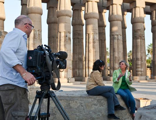 Christiane Amanpour interviewed Johns Hopkins University archaeologist Betsy Bryan in the grandeur of Temple at Luxor. Bryan explained the pharaoh Ramses, who some think was the pharaoh of the Exodus, had his workmen build these structures to glorify his name and reign
