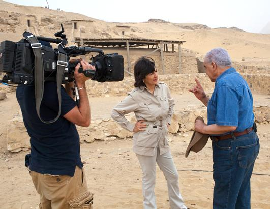 Zahi Hawass, a prominent Egyptian archaeologist, took Christiane Amanpour to Giza to investigate whether the Israelites were the builders of the pyramids. Wall carvings on the structures provide evidence that the builders had Egyptian, not Israelite names and other remains suggest these workers ate meat every day, not exactly the diet of slaves
