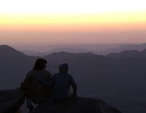Walking in Moses' footsteps, Christiane Amanpour and her son Darius hiked up Mount Sinai just in time to watch the sunrise. It was on this peak where it is believed that God gave Moses the Ten Commandments, the laws that form the moral foundation of the Torah, Old Testament and Quran