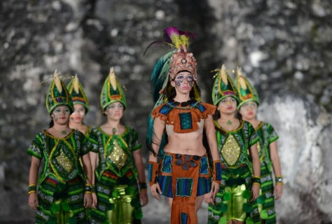 GUATEMALA: A folkloric group performs during celebrations marking the end of the Mayan 'Long Count' Calendar at Tikal, one of the largest archaeological sites of the ancient civilisation