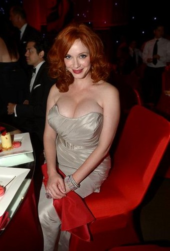 """Mad Men's"" Christina Hendricks isn't afraid to show some cleavage. Credit: Getty Images"