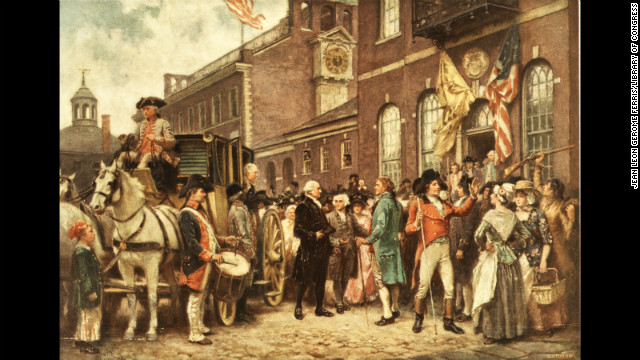 George Washington stands outside his carriage at his second inauguration on March 4, 1793
