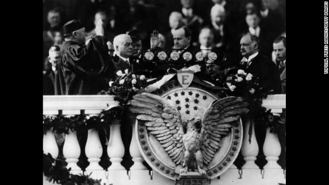 Calvin Coolidge is sworn in for his second term on March 4, 1925