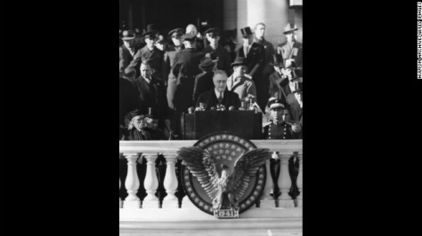 Franklin D. Roosevelt gives his third inaugural address on January 20, 1941