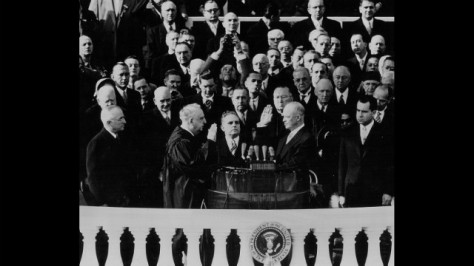 Dwight D. Eisenhower takes the oath of office on January 20, 1953