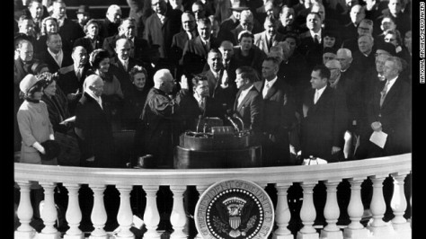 John F. Kennedy is sworn in on January 20, 1961