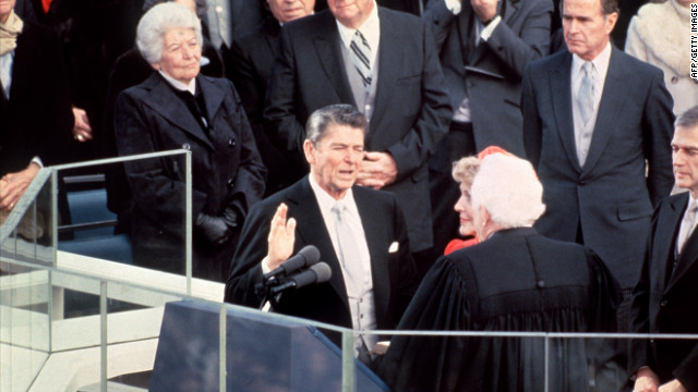Ronald Reagan is sworn in as 40th president of the United States on January 20, 1981