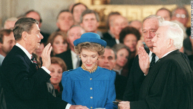 Ronald Reagan is sworn in on January 21, 1985, at the U.S. Capitol for his second term by Supreme Court Chief Justice Warren Burger