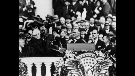 Franklin Delano Roosevelt is sworn in for his first term on March 4, 1933