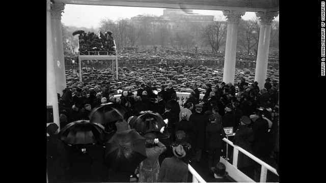 Chief Justice Charles Evans Hughes Sr. administers the oath of office to Franklin D. Roosevelt for his second term on January 20, 1937. This marked the first January event; before this, inaugurations were traditionally held in March