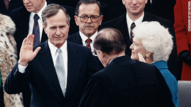 Chief Justice William Rehnquist administers the oath of office to President George H. W. Bush on January 20, 1989