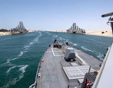 The Suez Canal, next to Egypt, handles 8% of the world's cargo ships. 50 ships travel through this 160 km-long stretch every day