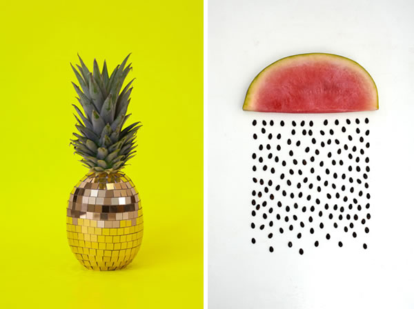 Pineapple and curtain-y water melon