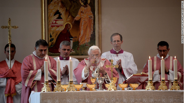 Benedict celebrates Mass during a visit to San Patrizio al Colle Prenestino parish on the outskirts of Rome in December 2012.