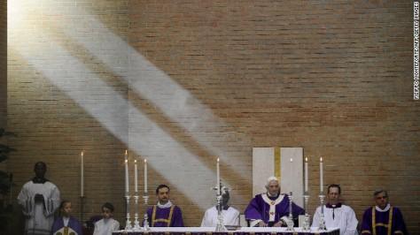 Benedict prepares to celebrate Mass at San Giovanni della Croce parish in Rome in March 2010.