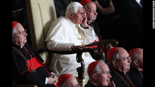 Benedict attends a screening of a movie about his predecessor, Pope John Paul II, on October 16, 2008, in Vatican City during celebrations of the 30th anniversary of John Paul's election as pontiff.
