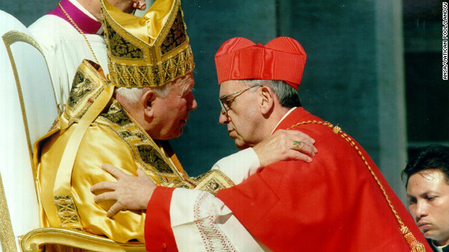 Pope John Paul II receives Cardinal Bergoglio, archbishop of Buenos Aires, Argentina, at the Vatican on February 21, 2001