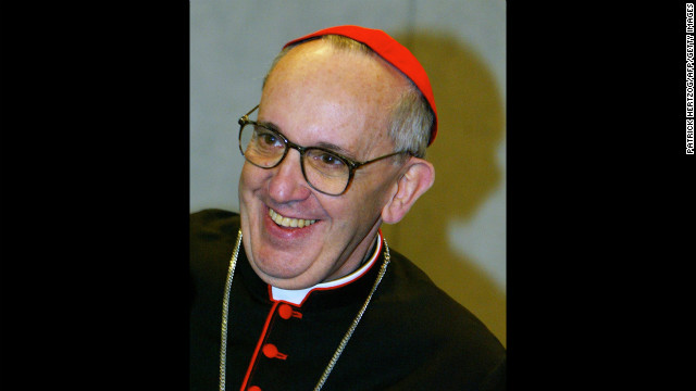 Bergoglio smiles during a news conference at the Vatican in October 2003. during celebrations marking the 25th anniversary of Pope John Paul II's election