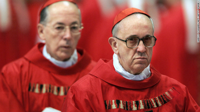 "Bergoglio, right, and Peru's Cardinal Juan Luis Cipriani Thorne attend the special ""pro eligendo summo pontifice"" (to elect supreme pontiff) Mass in Vatican City in April 2005"