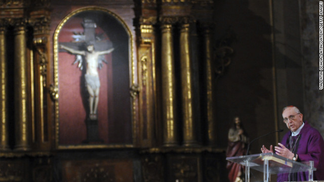 Bergoglio says a Mass in honor of the late ex-President Nestor Carlos Kirchner on October 27, 2010, in Buenos Aires