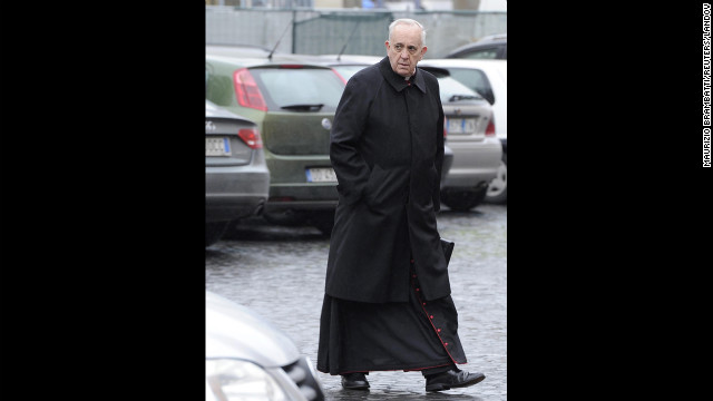 Bergoglio arrives for the congregation meeting at Synod Hall in the Vatican on March 7