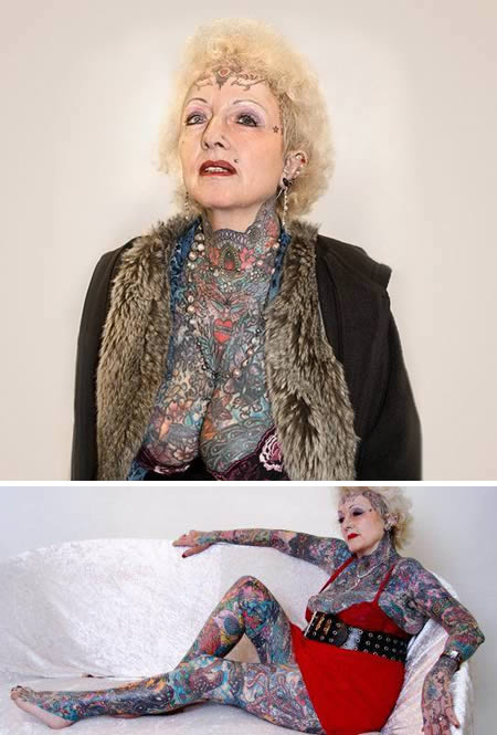 She be 70 and she no send wetin other people think. Isobel Varley na the most tattooed senior woman in the world with around 75% of her body tattooed.