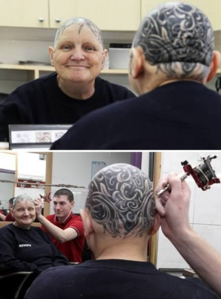 She na grandmother turned bald by alopecia and the best thing to do? - A tattoo to cover her entire head. Ann McDonald, 60, dey suffer from alopecia and also get thyroid problem wey result in total apari